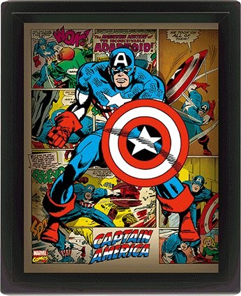 Marvel Retro - Captain America 3D kehystetty juliste