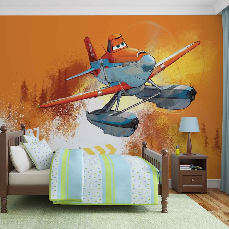 Disney planes dusty crophopper wall paper mural buy at for Disney planes wall mural