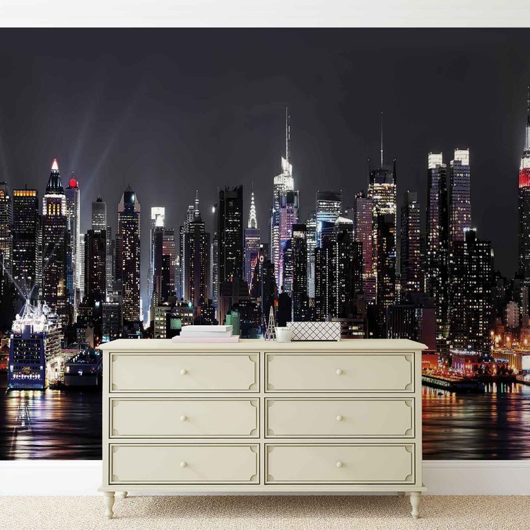 new york city wall paper mural buy at europosters. Black Bedroom Furniture Sets. Home Design Ideas