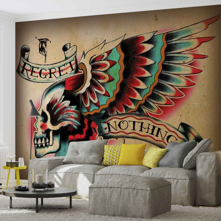 Skull tattoo wing wall paper mural buy at europosters for Mural tattoo