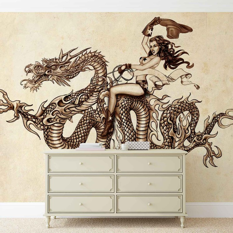 Dragon tattoo wall paper mural buy at europosters for Mural tattoo