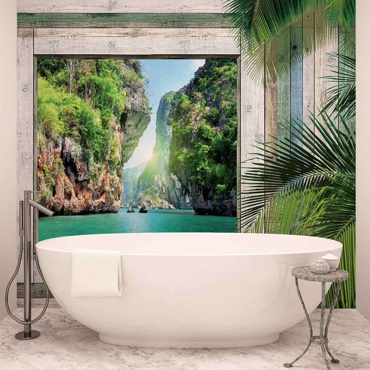 Beach tropical view wall paper mural buy at for Beach view wall mural