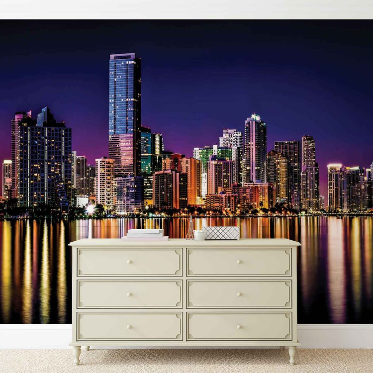 City new york skyline night wall paper mural buy at for City skyline wall mural