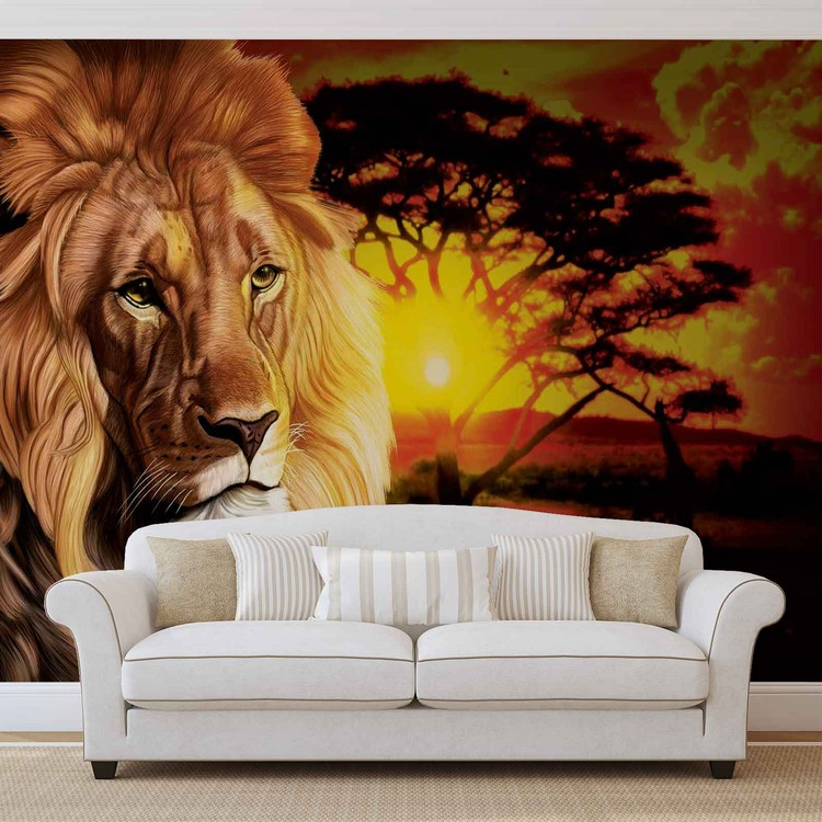 Lion sunset africa nature tree wall paper mural buy at for African sunset wall mural