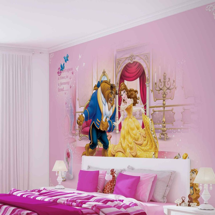 Disney princesses beauty beast wall paper mural buy at for Disney princess wall mural tesco
