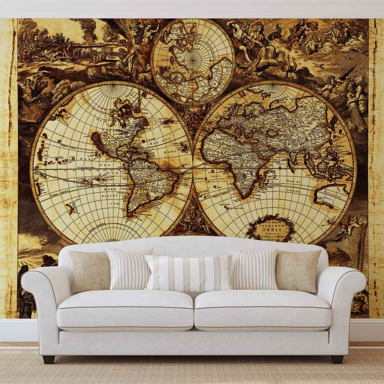 World map vintage wall paper mural buy at europosters for Antique map wall mural