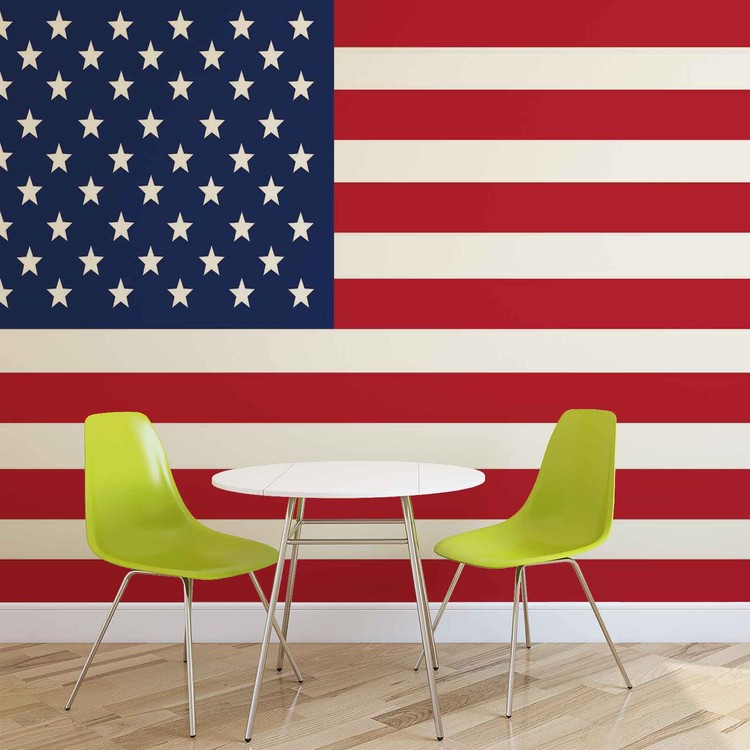 Usa america flag wall paper mural buy at europosters for American flag wall mural
