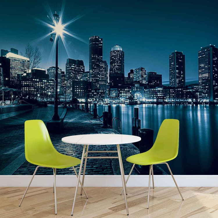 City boston skyline wall paper mural buy at europosters for Boston wall mural