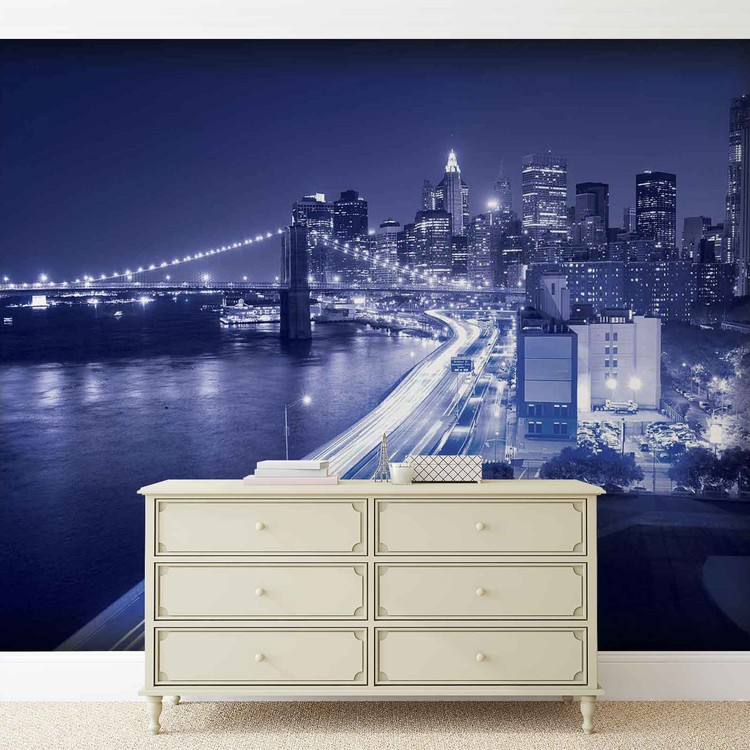New york city brooklyn bridge lights wall paper mural for Poster mural geant new york