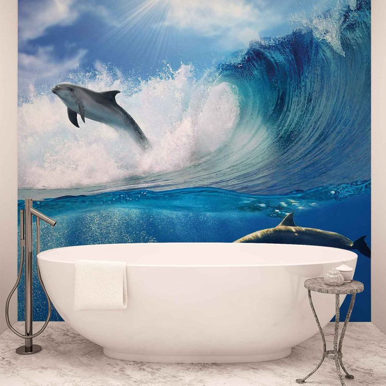Dolphins sea wave nature wall paper mural buy at europosters for Dolphin wall mural