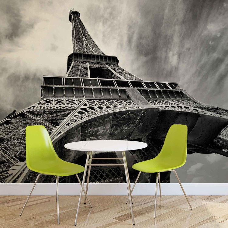 Paris eiffel tower black white wall paper mural buy at for Eiffel tower mural