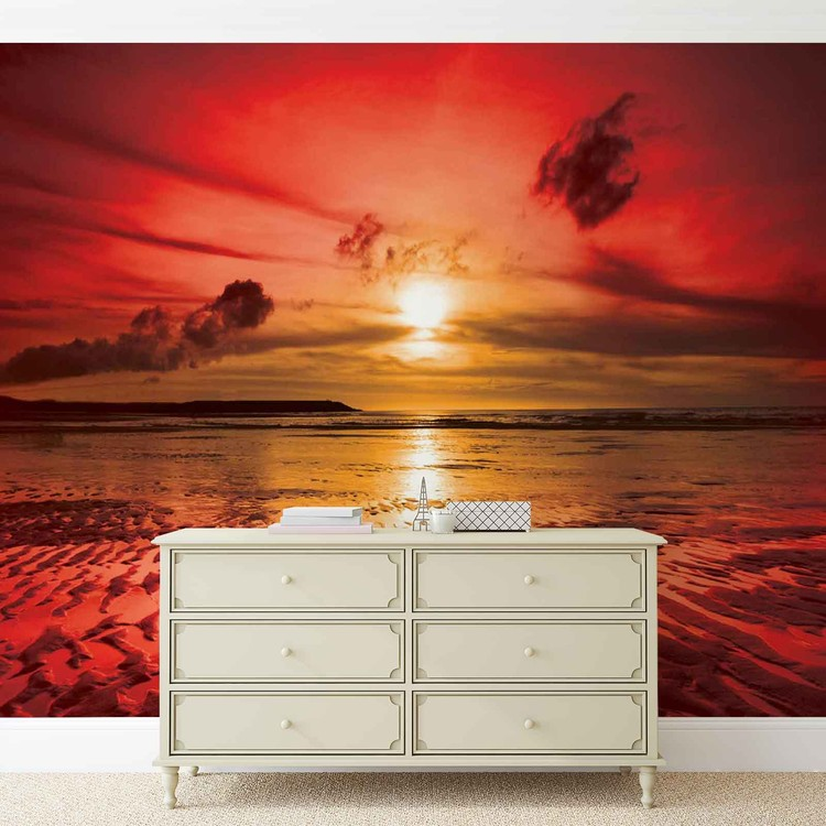 Beach sunset wall paper mural buy at europosters for Beach sunset mural