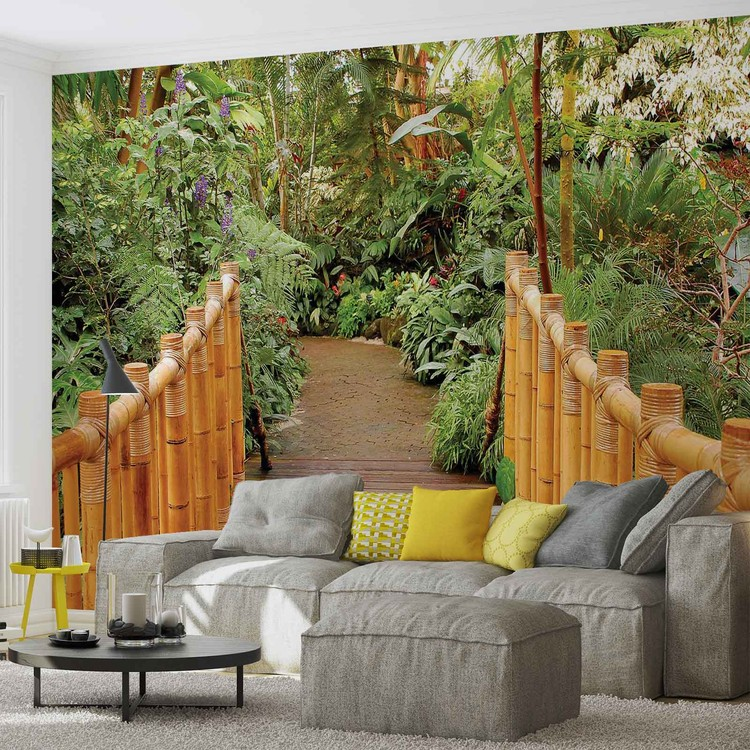 Forest nature path bamboo wall paper mural buy at for Bamboo forest mural