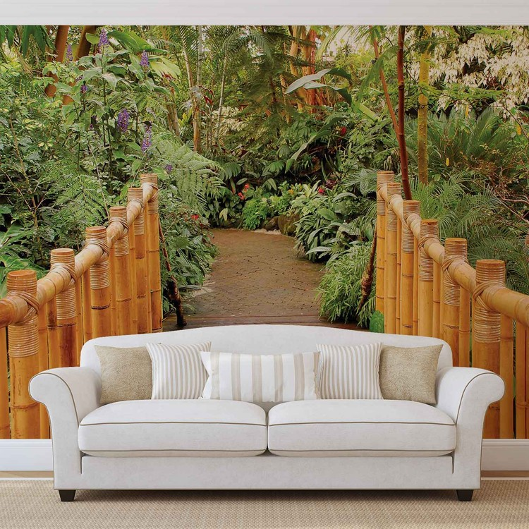 Forest nature path bamboo wall paper mural buy at for Bamboo forest wall mural