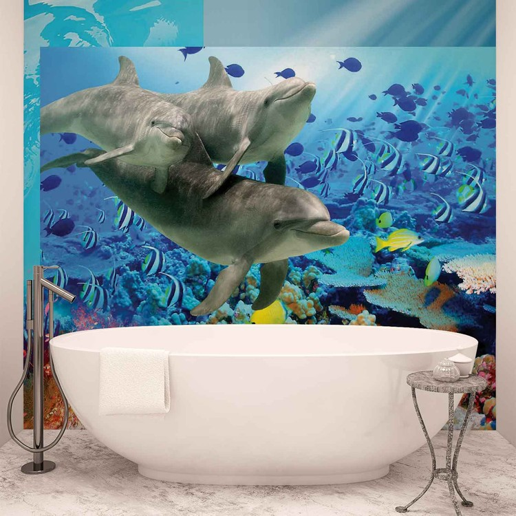 Dolphins tropical fish wall paper mural buy at for Dolphins paradise wall mural