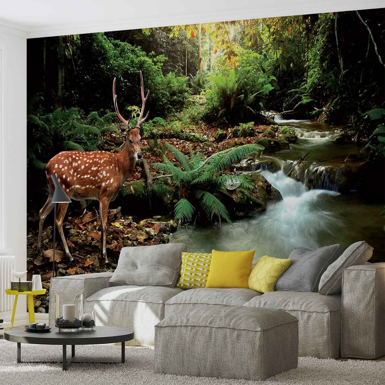 Deer in forest wall paper mural buy at europosters for Deer wallpaper mural