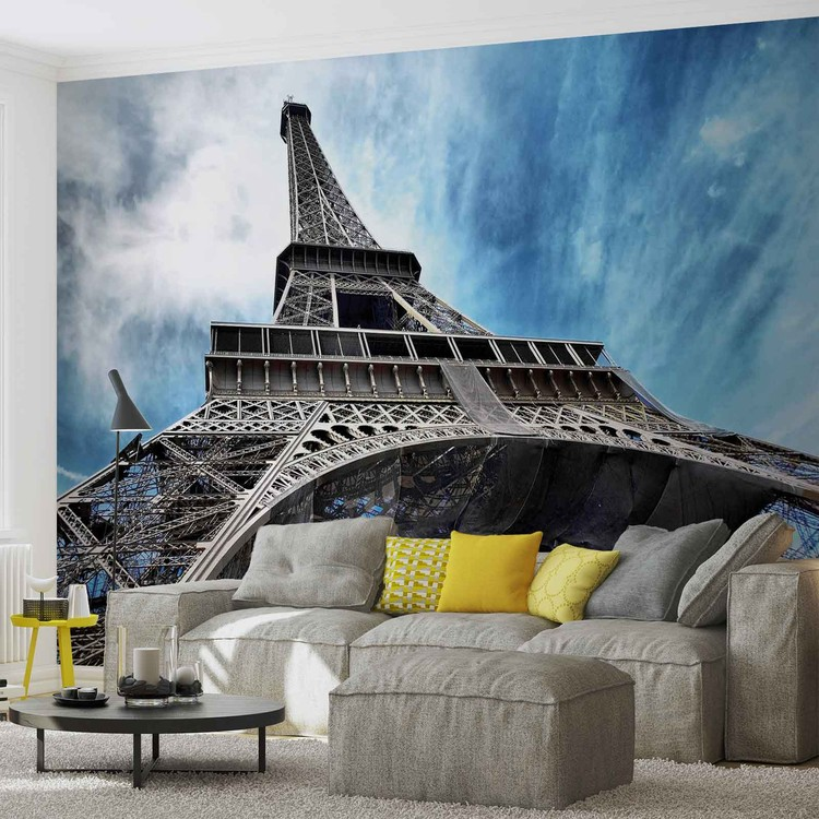 Eiffel tower paris wall paper mural buy at europosters for Eiffel tower mural