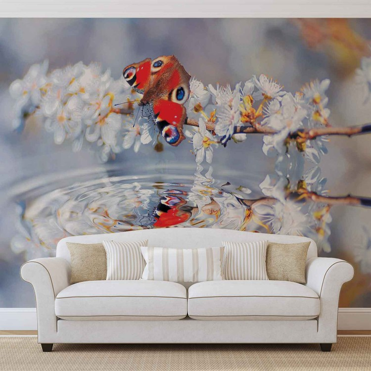 Butterfly flower scene wall paper mural buy at europosters for Butterfly wall mural