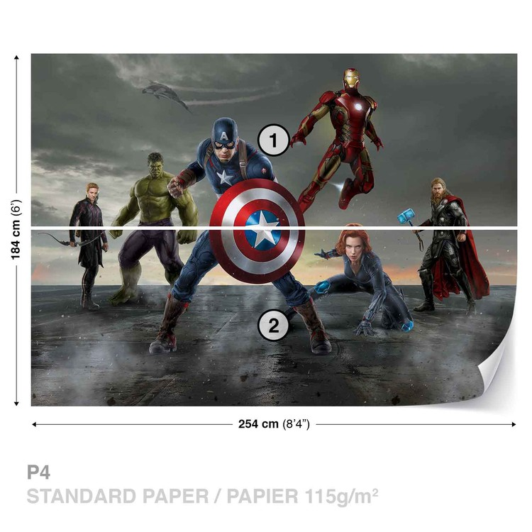 Avengers formation wall paper mural buy at europosters for Avengers mural poster