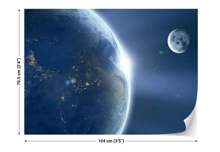 Earth and moon wall paper mural buy at for Earth moon wall mural