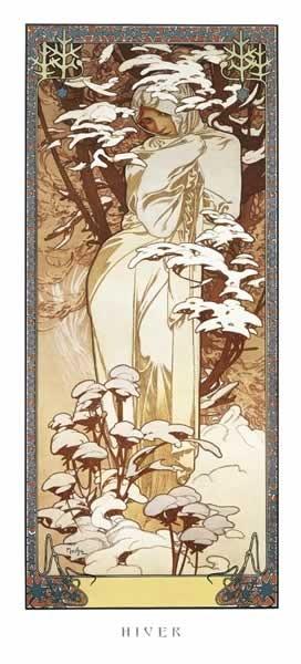 Alfons Mucha – hiver, 1900 Affiche