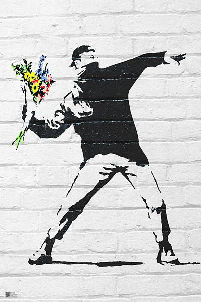 banksy street art graffiti throwing flow poster affiche. Black Bedroom Furniture Sets. Home Design Ideas
