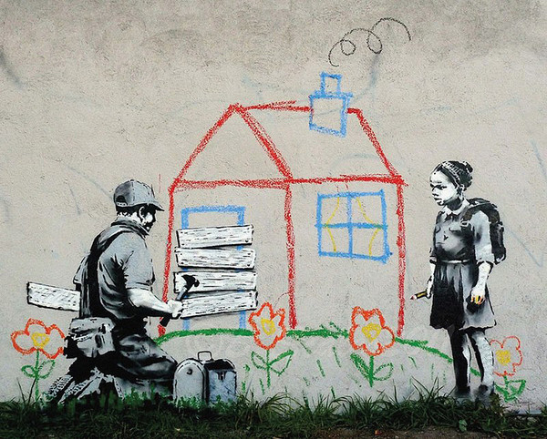 banksy street art playhouse poster affiche acheter le sur. Black Bedroom Furniture Sets. Home Design Ideas