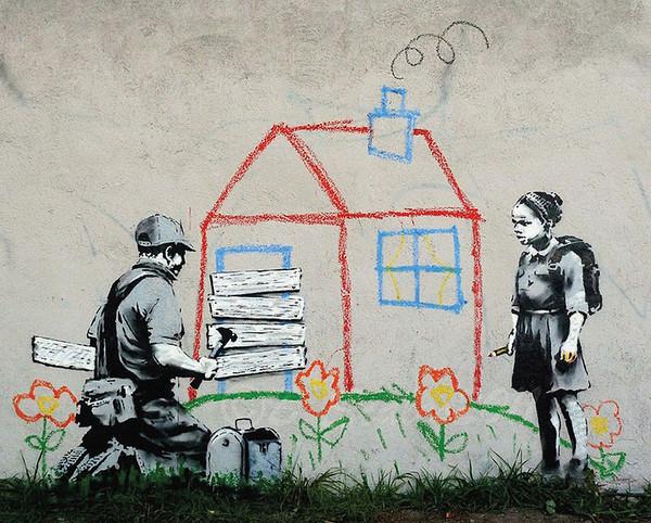 banksy street art playhouse poster affiche acheter le. Black Bedroom Furniture Sets. Home Design Ideas
