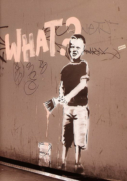 Banksy street art - what? graffiti Affiche