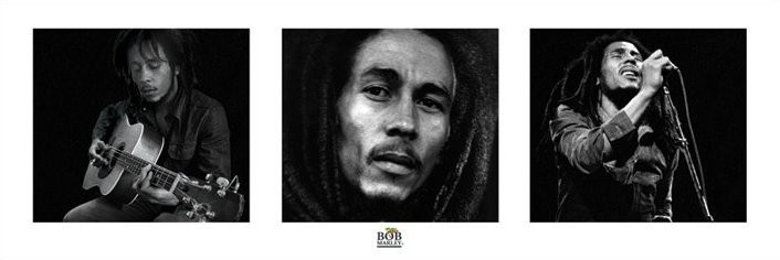 Bob Marley - 3 images (B&W) Affiche