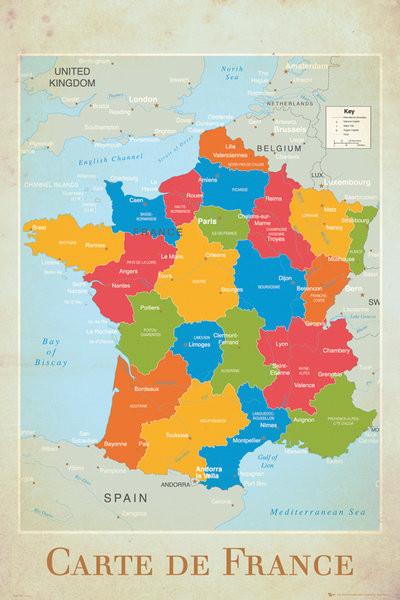 Carte de France - politique Affiche