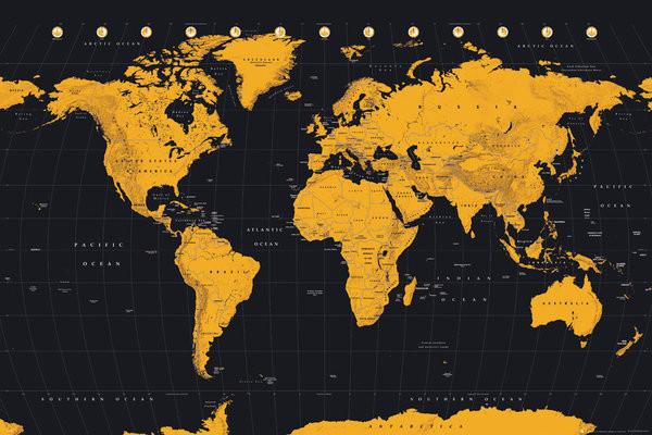 Carte du monde - Gold World Map Affiche