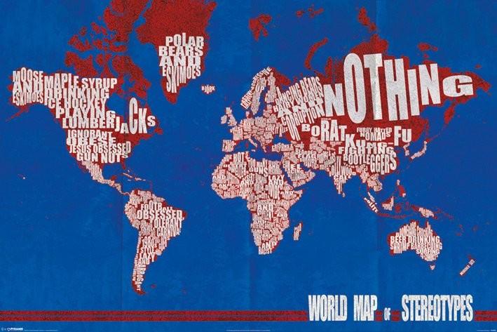 Carte du monde - stereotypes Affiche