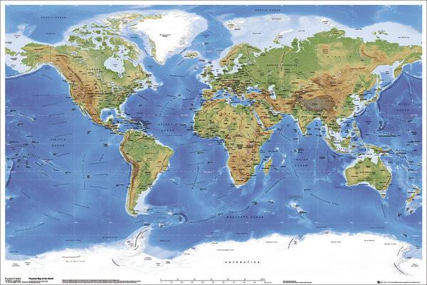 Carte Physique Du Monde Affiche