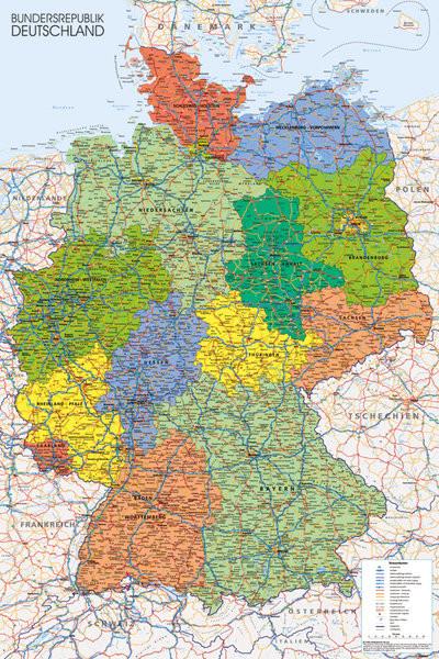 Carte politique de l'Allemagne Affiche