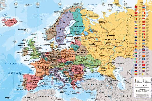 Carte politique de l'Europe Affiche