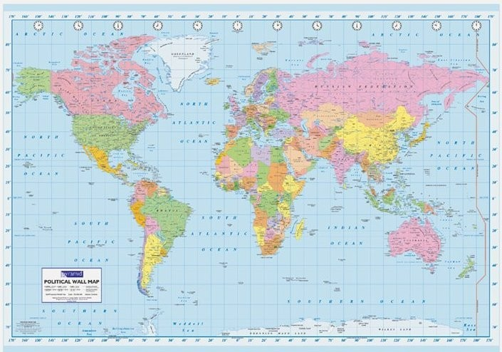 Carte politique du monde poster affiche acheter le sur - Carte cadeau maison du monde ...