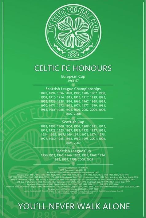 Celtic - honours Affiche