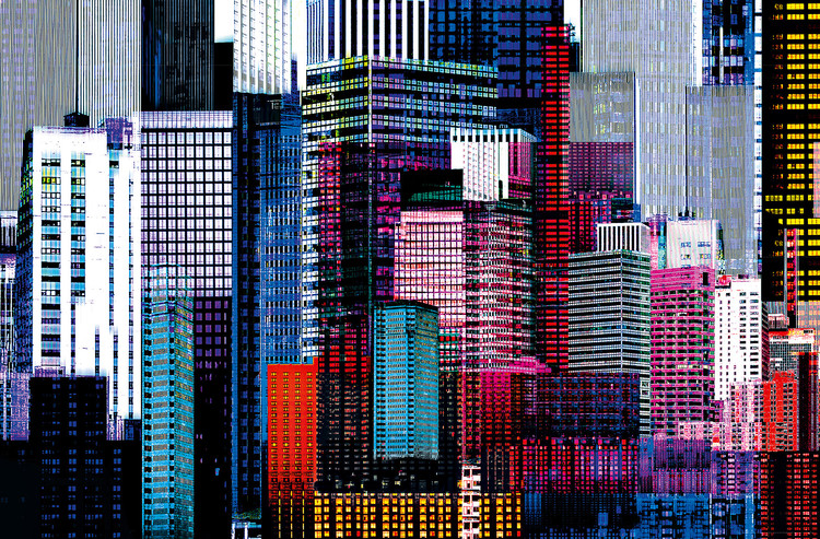COLOURFUL SKYSCRAPERS Affiche