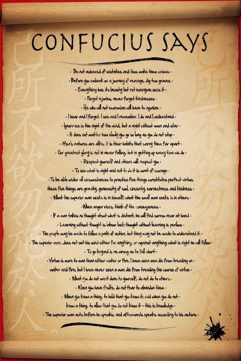 Confucius says Affiche