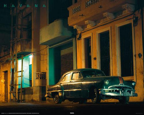 CUBA - green car Affiche