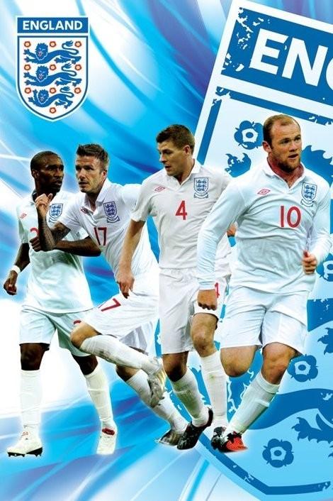 England side 2/2 - rooney,gerrard, beckham & defoe Affiche