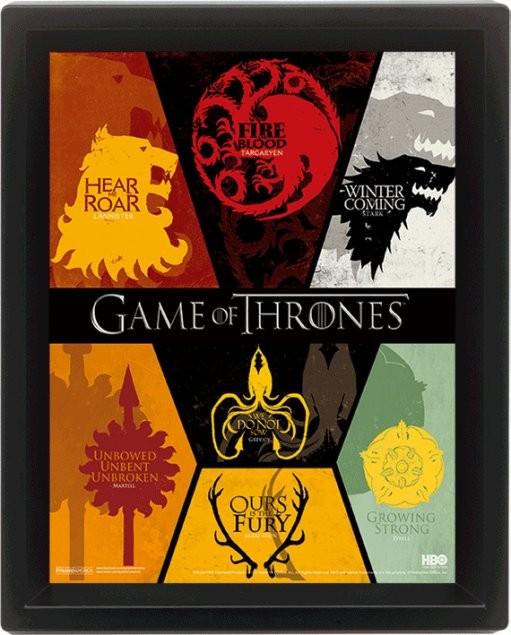 Game of Thrones - Sigil Poster en 3D encadré