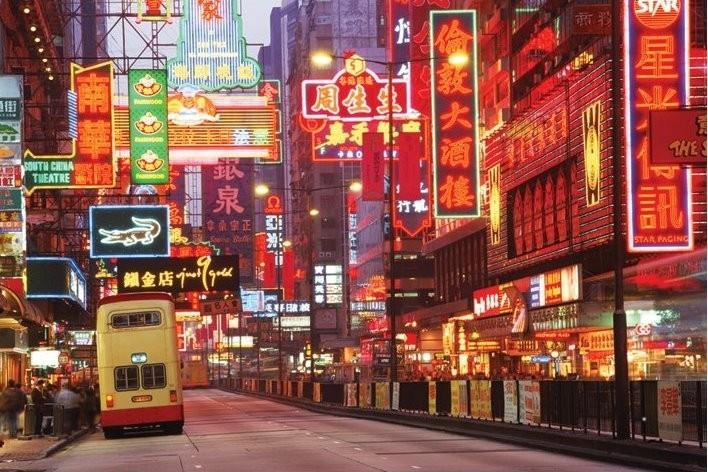 Hong Kong - neon Affiche