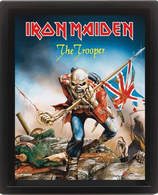 Iron Maiden - The Trooper  Poster en 3D encadré