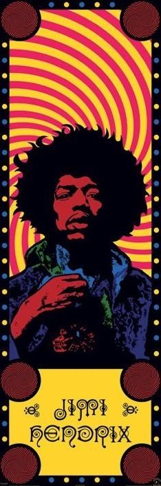 Jimi Hendrix - psychedelic door Affiche