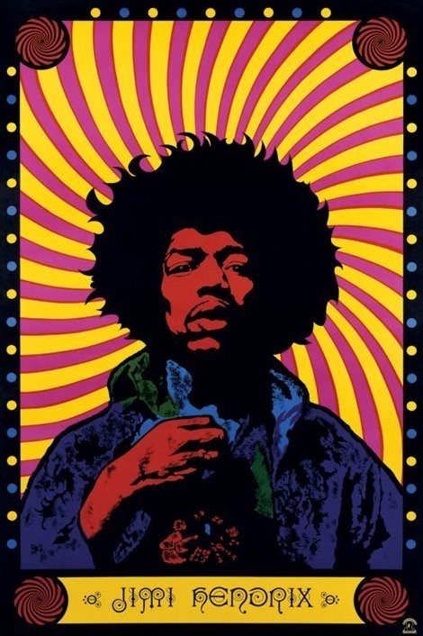 Jimi Hendrix - psychedelic Affiche