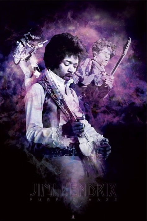 Jimi Hendrix - purple haze smoke Affiche