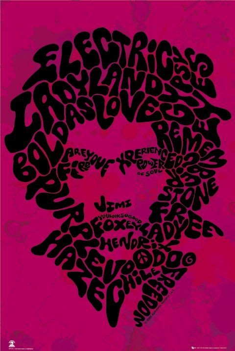 Jimi Hendrix - song titles Affiche