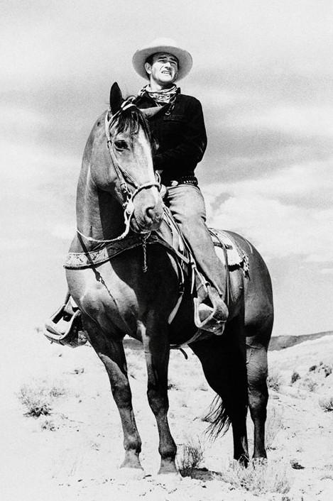 John Wayne - horse Affiche